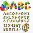Colorful brick toys font with numbers