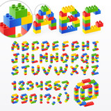 Fototapety Colorful brick toys font with numbers