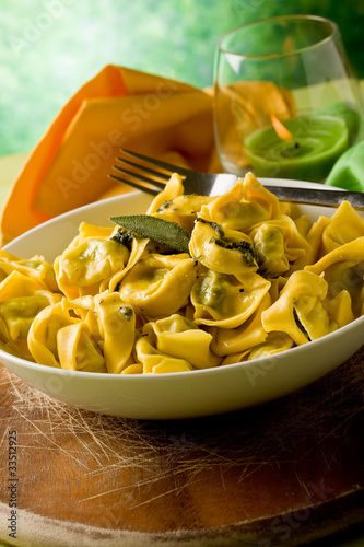 Tortellini Butter and Sage on Wooden Chopping Board