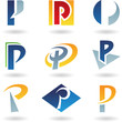 Vector illustration of abstract icons based on the letter P