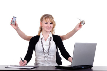 business woman with four arms