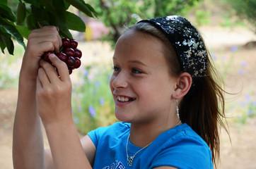 Girl Picking Cherries on a Farm
