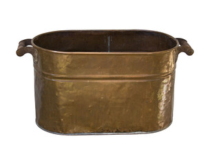 Antique Copper .wash Tub with Clipping Path