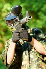paintball player holding fire