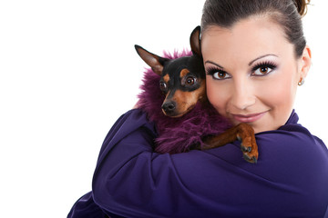 fashion little dog with woman