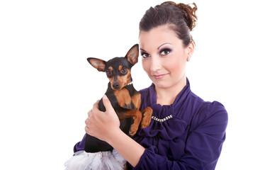 fashionable woman and dog