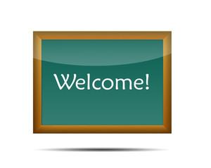 Pizarra con texto Welcome!