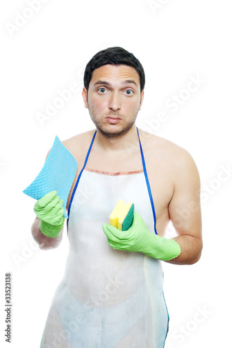 upset funny young man forced to clean isolated on white