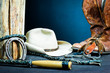 Cowboy boots,horseshoe,whip,spurs and hat on wood