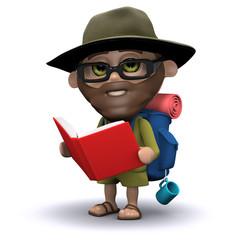 3d Hiker studies a book