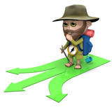 3d Hiker has to decide which path to take poster