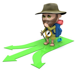 3d Hiker has to decide which path to take