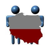abstract people holding Poland map flag illustration