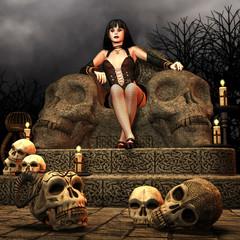 Gothic Lady auf einem Thron