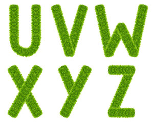 green grass letter uvwxyz isolated