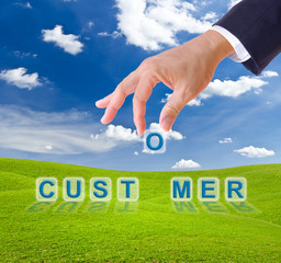 business man hand and customer word