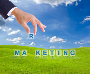 business man hand and marketing word buttons