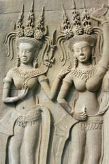 angkor asparas in bayon temple, cambodia