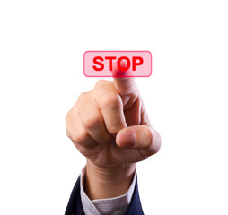 business man hand pushing stop button