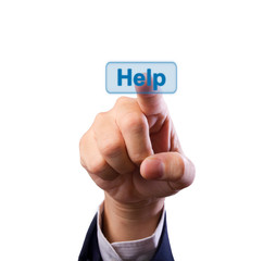 business man hand pushing help button isolated