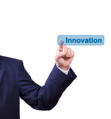 business man hand pushing innovation button isolated