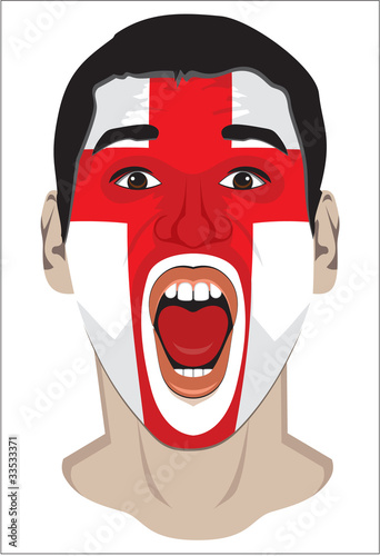 sports fan face with Flag of England