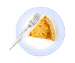 Quiche Lorraine On Blue Plate With Fork