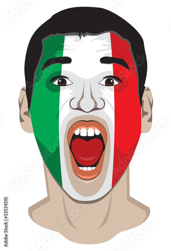 Sports fan face with italy flag