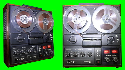 Chroma key Old Reel Audio Recorder on the green screen