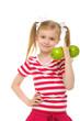 Girl trains fitness dumbbells from apples