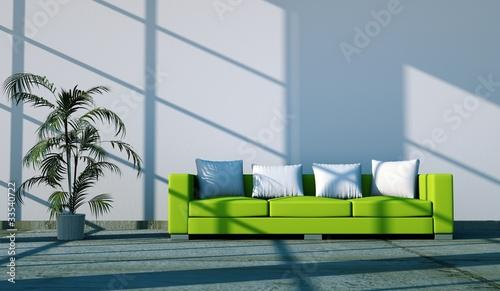 Wohndesign - grünes Sofa mit Pflanze
