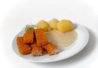 Fischstäbchen mit Kartoffeln & Senfsoße