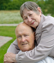 Portrait of a happy senior man and  woman