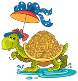 Turtle with an umbrella