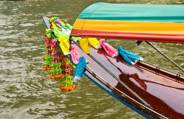 Head of Long-tail river boat on the Chao Praya river in Bangkok,