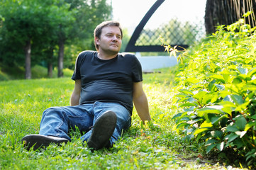 Man sitting on the grass