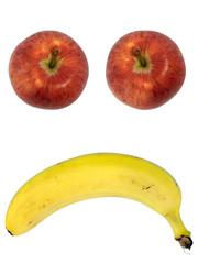 Unhappy Fruit Face - Apple,Banana