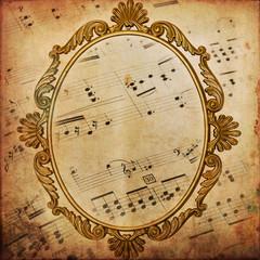 Texture retro, spartito musicale e cornice di bronzo