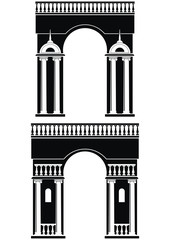 Two silhouettes of triumphal arch