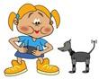 Girly beim Spiel mit Robothund