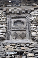 Wooden window with beautiful ornament, Nepal