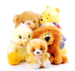 Plush toy animals isolated on a white background