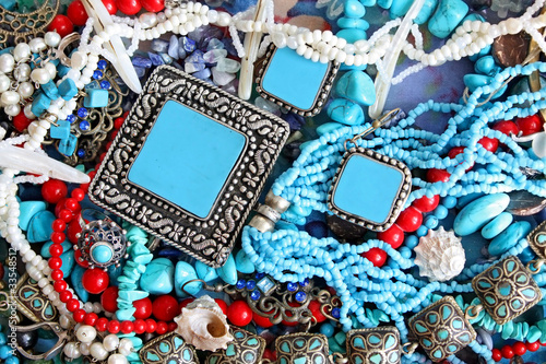 Background with turquoise, shells and pearls