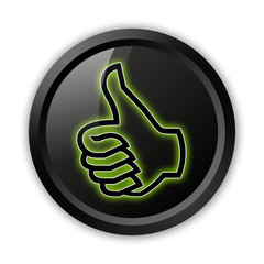 "Black Icon (Green Outlines) ""Thumbs Up"""