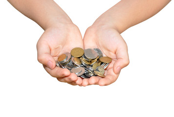 human hands holding metal coins, isolated on white