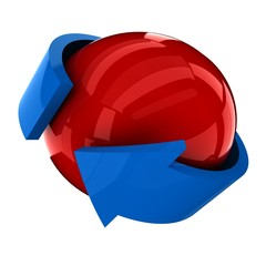 the red ball with the blue arrow