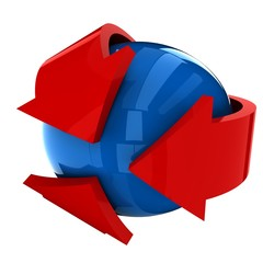 THE BLUE BALL WITH THE RED ARROW