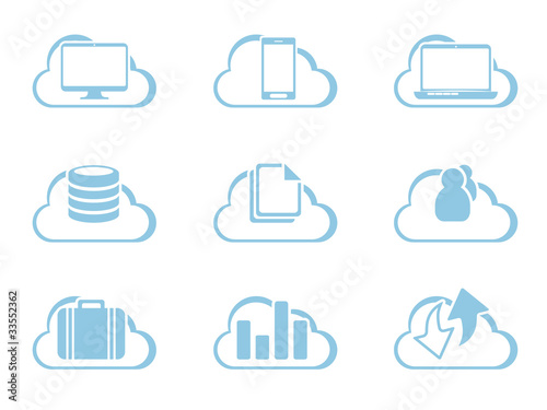 Vector Icons for Cloud Computing