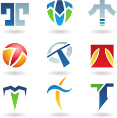 Vector illustration of abstract icons based on the letter T