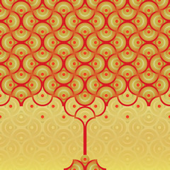 Seamless vector background - autumn tree pattern - red